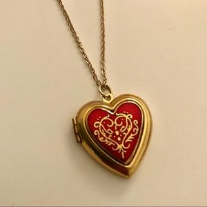 The Met Heart Locket Cloisonne Necklace Pendant
